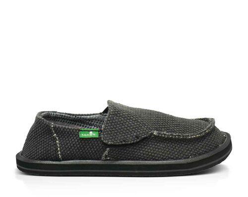 Sanuk Kids' Vagabond Boys Sidewalk Surfers Slip-On Shoes in Black, Size 5