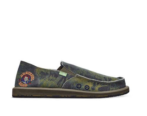 Sanuk Kids' Vagabond Boys Grateful Dead Sidewalk Surfers Slip-On Shoes in Green/Navy, Size 2