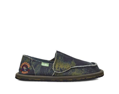 Sanuk Kids' Vagabond Boys Grateful Dead Sidewalk Surfers Slip-On Shoes in Green/Navy, Size 11