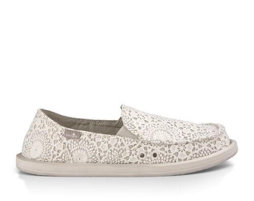 Sanuk Women's Donna Crochet Sidewalk Surfers Slip-On Shoes in White/Oatmeal, Size 6