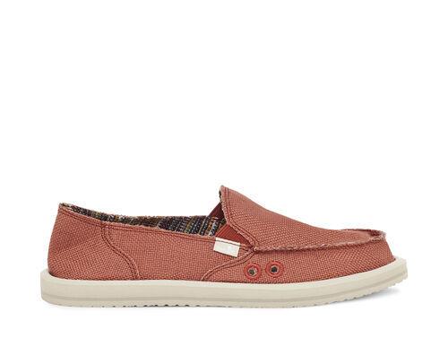 Sanuk Women's Donna Cotton Slip-On Shoes in Auburn, Size 6