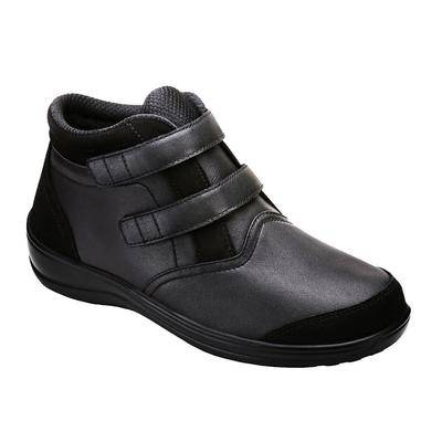 OrthoFeet #1 Diabetic Comfortable Orthopedic Arch Support Velcro Strap Black Leather Women's Boots   OrthoFeet, 12 / Extra Wide / Black