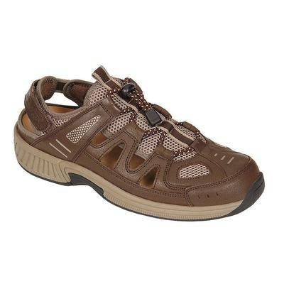 OrthoFeet #1 Arch Support Comfortable Orthopedic Shoes Closed Toe Diabetic Walking Sandals for Men   Orthofeet, 13 / Wide / Brown
