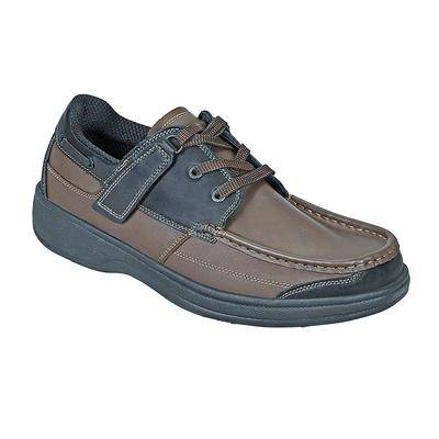 OrthoFeet #1 Diabetic Plantar Fasciitis Comfortable Orthopedic Casual Boat Shoes With Arch Support For Men   OrthoFeet, 8.5 / Wide / Brownblack