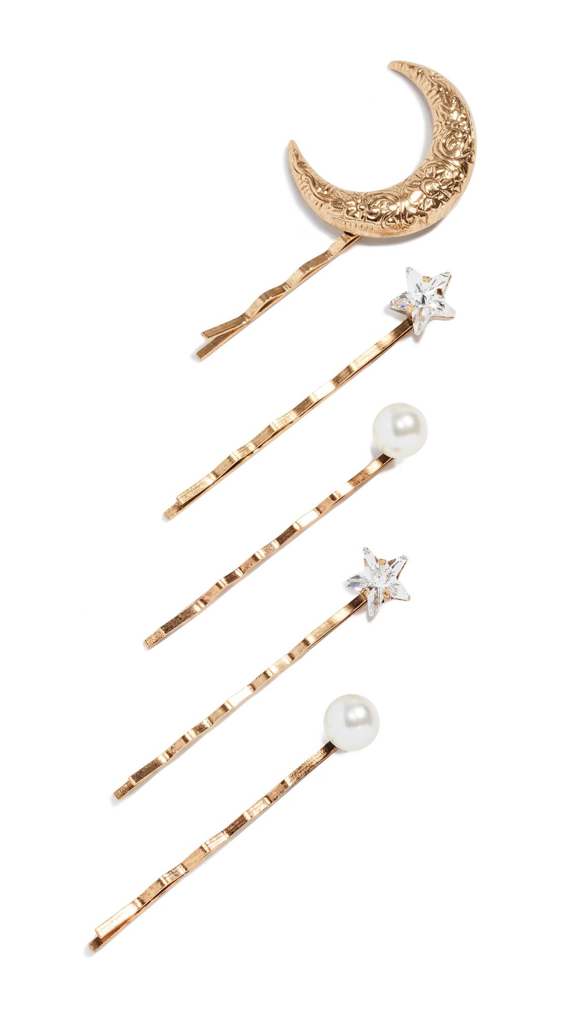 Jennifer Behr Oberon Bobby Pin Set of 5  - Crystal/Antique Gold - Size: One Size