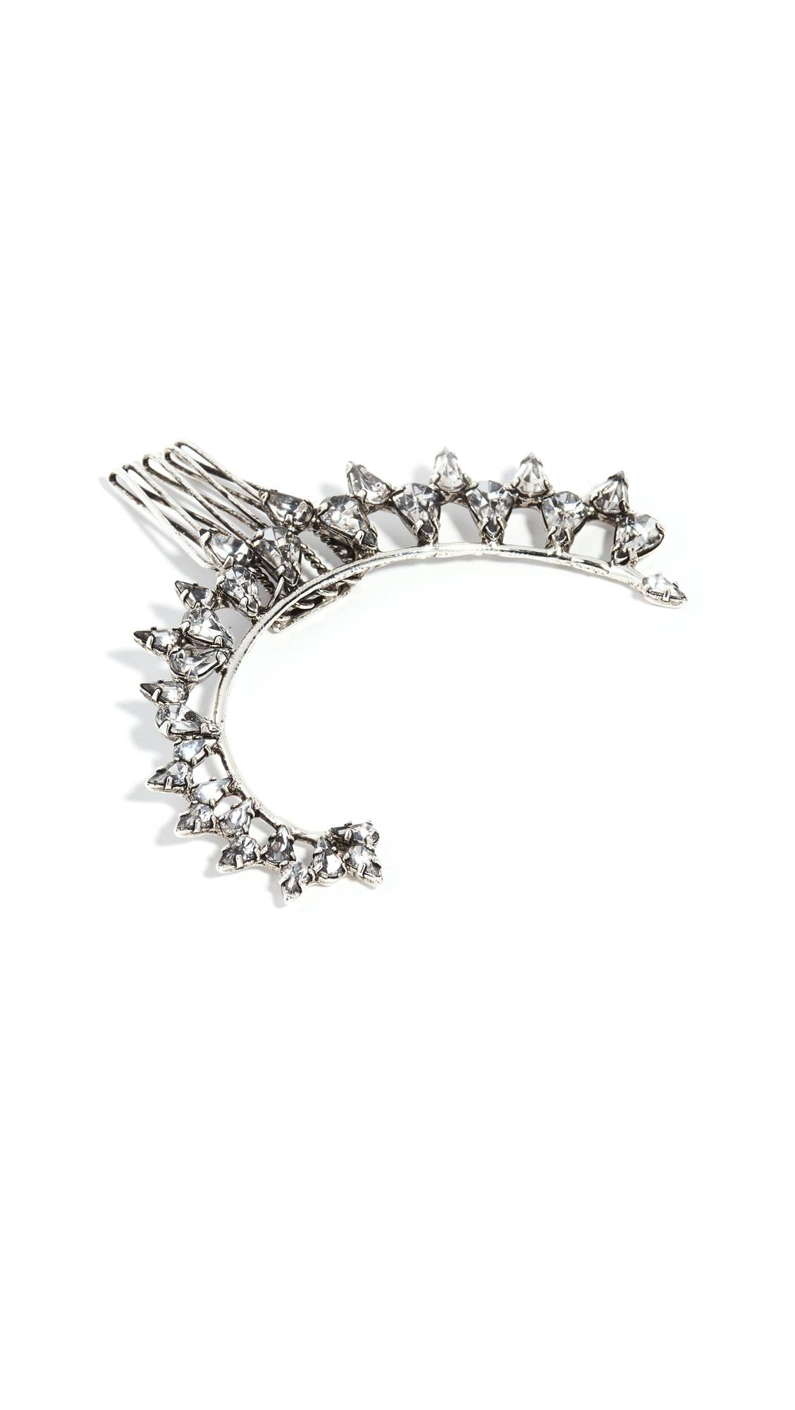 LELET NY Loren Crystal Hair Comb  - Antique Silver - Size: One Size