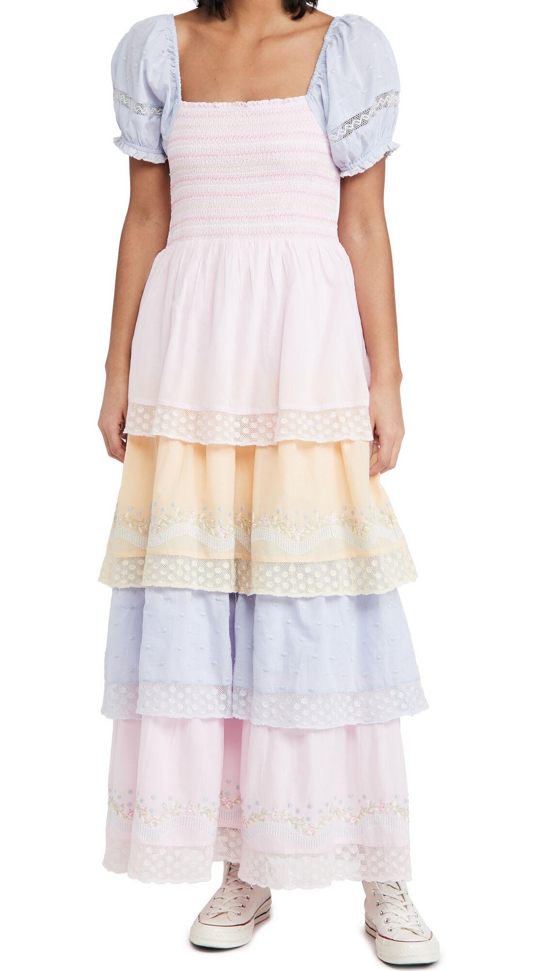 LOVESHACKFANCY Capella Dress  - Ambrosia Garden - Size: Extra Small
