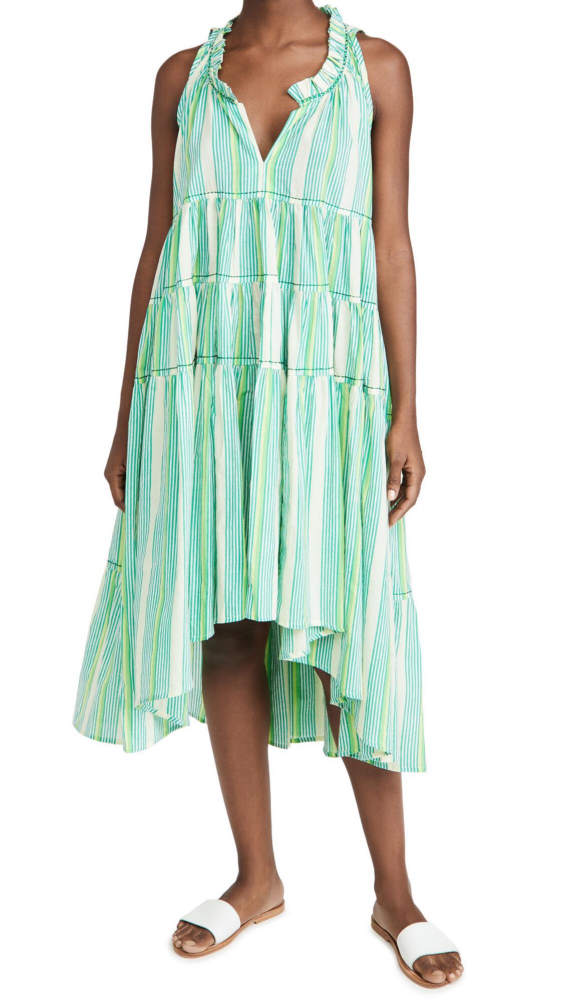 Ro's Garden Sasha Dress  - Nina Stripes Green - Size: Extra Large
