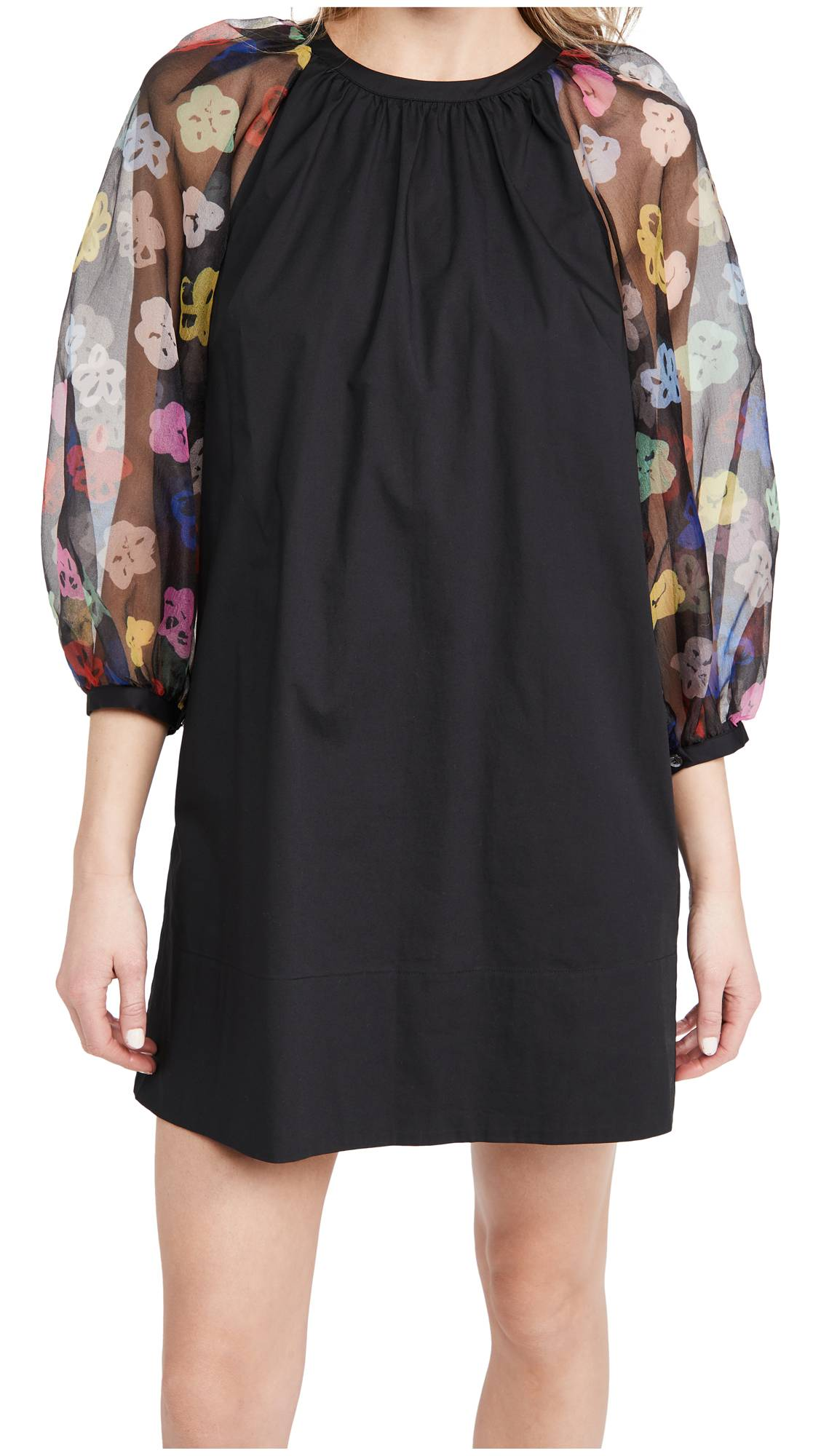 STAUD Garden Dress  - Rainbow Bloom Black - Size: Large