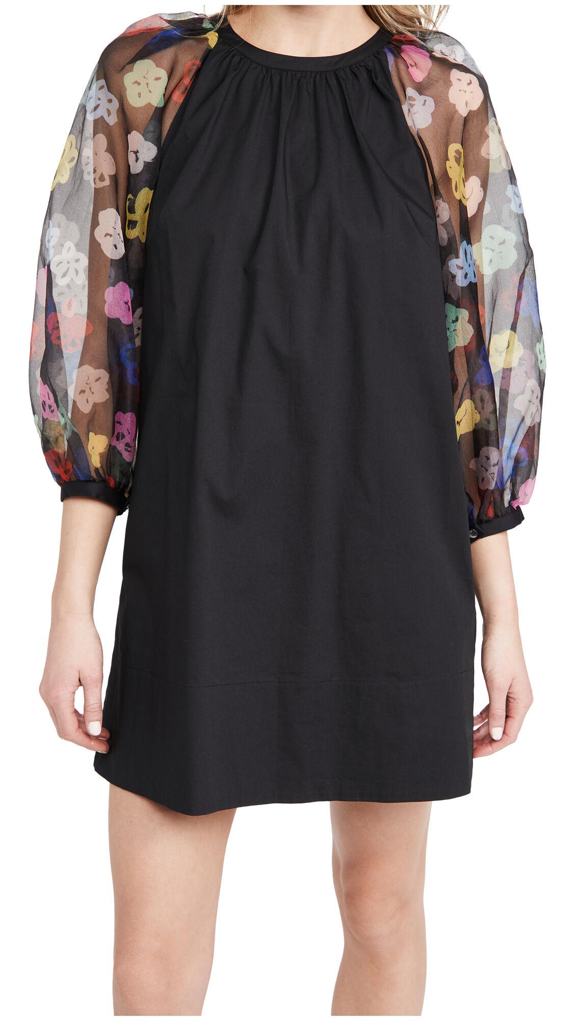 STAUD Garden Dress  - Rainbow Bloom Black - Size: Extra Small