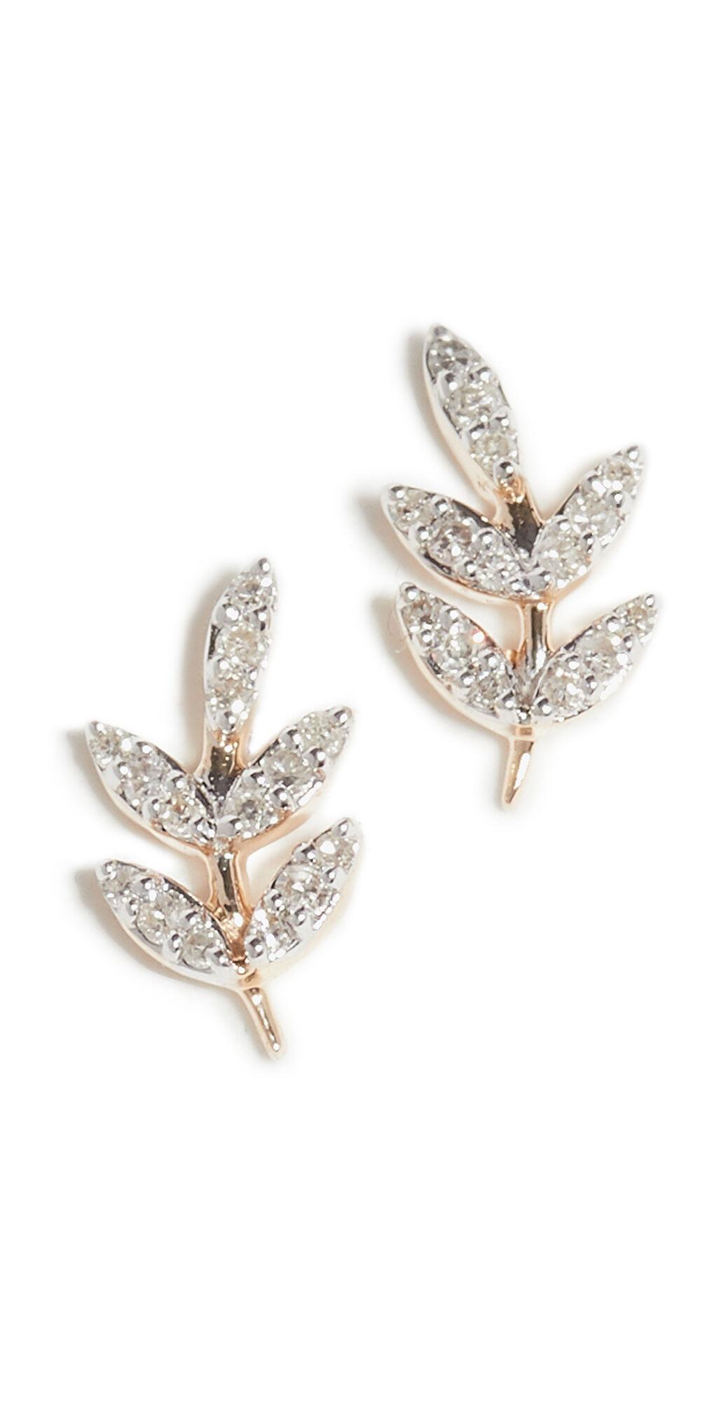 Adina Reyter 14k Garden Pavé Leaf Posts  - Yellow Gold - Size: One Size