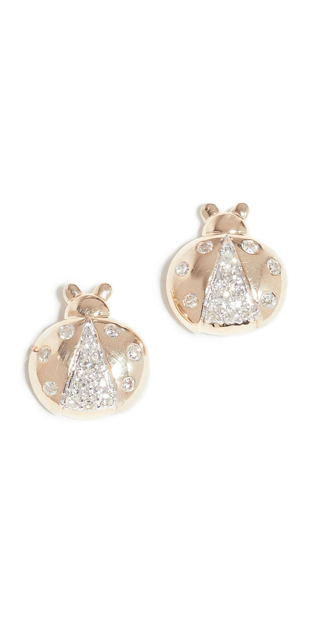 Adina Reyter 14k Garden Pavé Ladybug Post Earrings  - Yellow Gold - Size: One Size