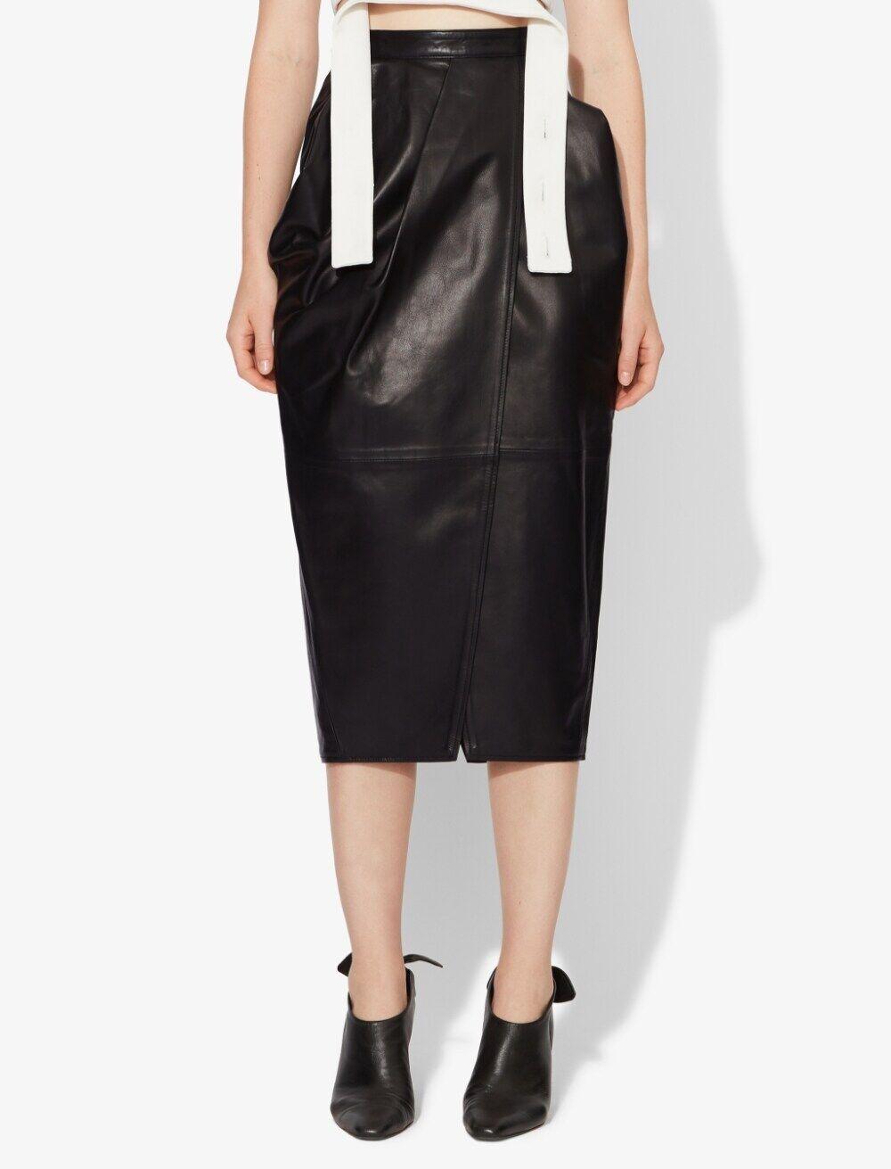 Proenza Schouler Leather Tulip Skirt black 0