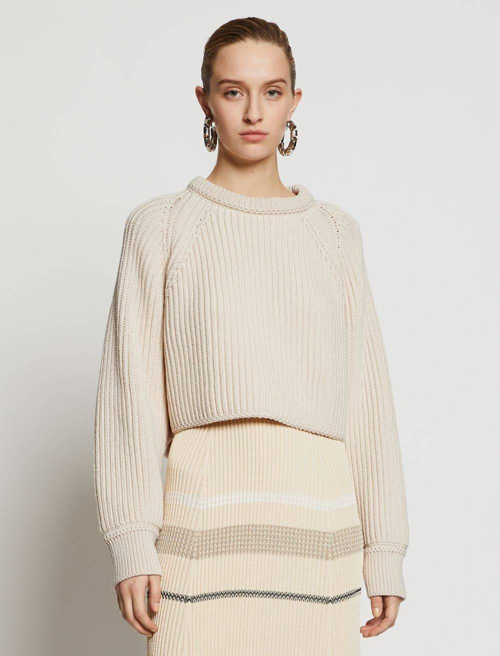 Proenza Schouler Chunky Cotton Rib Sweater ecru/white XS