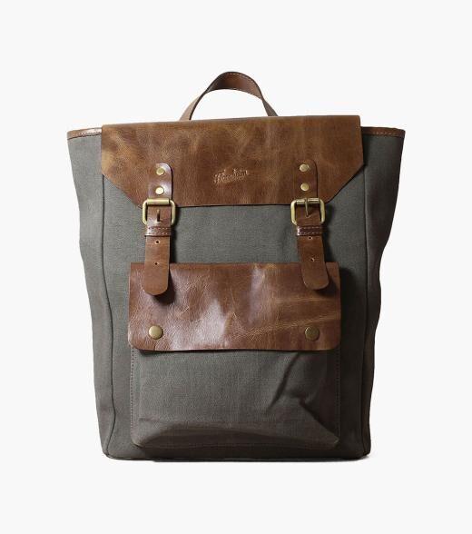 Florsheim Orazio Orazio Canvas/Leather Backpack Men's Bag Accessories  - Gray Green - Size: One Size