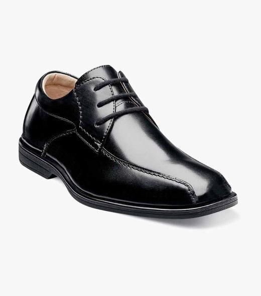 Florsheim Reveal Jr. Reveal Jr. Bike Toe Oxford Kid's Dress Shoes  - Black Cognac - Size: 10, 10.5, 11, 11.5, 12, 12.5, 13, 13.5, 1, 1.5, 2, 2.5, 3, 3.5, 4, 4.5, 5, 5.5, 6, 6.5, 7