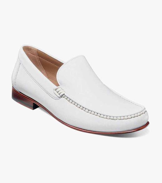 Florsheim Beaufort Beaufort Moc Toe Venetian Loafer Men's Dress Shoes  - Cognac Navy Red White - Size: 7, 7.5, 8, 8.5, 9, 9.5, 10, 10.5, 11, 12, 13
