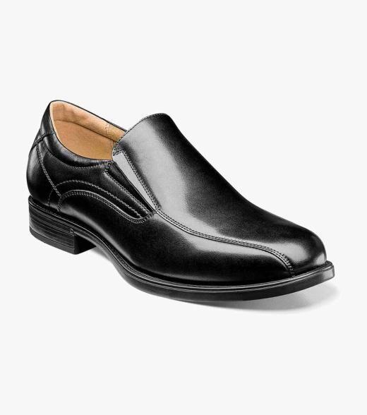 Florsheim Midtown Midtown Bike Toe Slip On Men's Dress Shoes  - Black Cognac - Size: 7, 7.5, 8, 8.5, 9, 9.5, 10, 10.5, 11, 11.5, 12, 13, 14