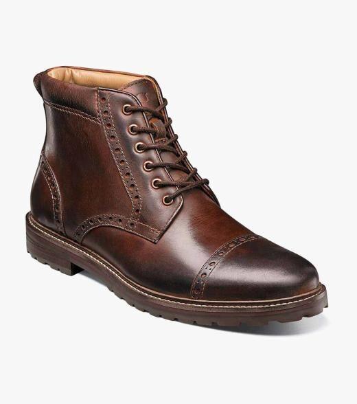Florsheim Estabrook Estabrook Cap Toe Boot Men's Casual Shoes  - Brown CH - Size: 7.5, 9, 9.5, 11.5, 12