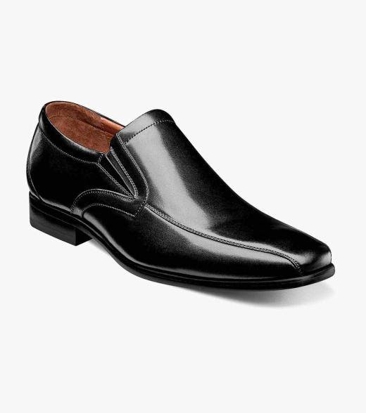 Florsheim Postino Postino Bike Toe Slip On Men's Dress Shoes  - Black Smooth - Size: 7, 7.5, 8, 8.5, 9.5, 10.5, 11, 11.5, 12, 13, 14