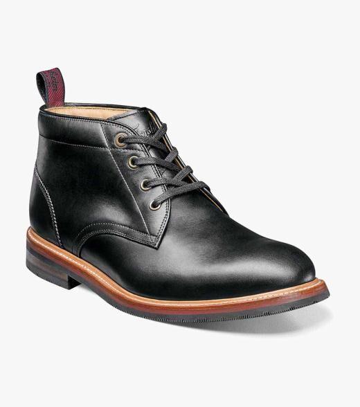 Florsheim Foundry Foundry Plain Toe Chukka Boot Men's Casual Shoes  - Black Ebony Printed Saddle Tan - Size: 7, 7.5, 8, 8.5, 9, 9.5, 10, 10.5, 11, 11.5, 12
