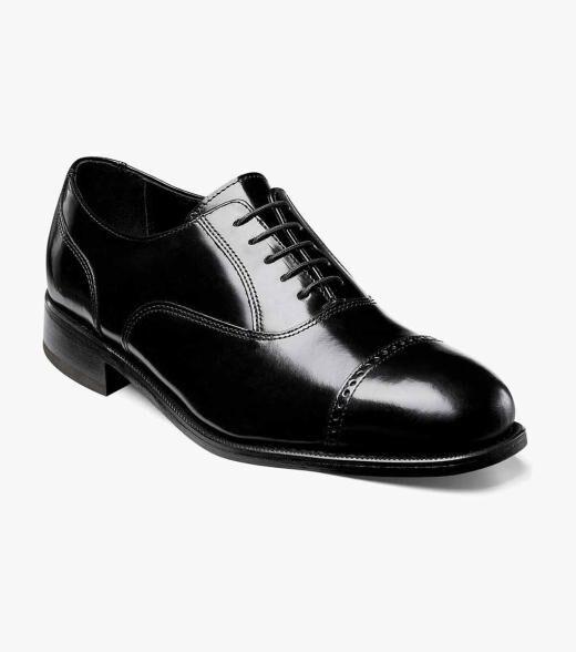Florsheim Lexington Lexington Cap Toe Oxford Men's Dress Shoes  - Black Burgundy - Size: 7, 7.5, 8, 8.5, 9, 9.5, 10, 10.5, 11, 11.5, 12, 13, 14, 15