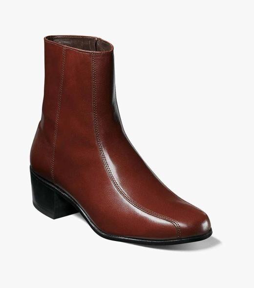 Florsheim Duke Duke Bike Toe Zipper Boot Men's Dress Shoes  - Black Cognac - Size: 6, 6.5, 7, 7.5, 8, 8.5, 9, 9.5, 10, 10.5, 11, 11.5, 12, 13