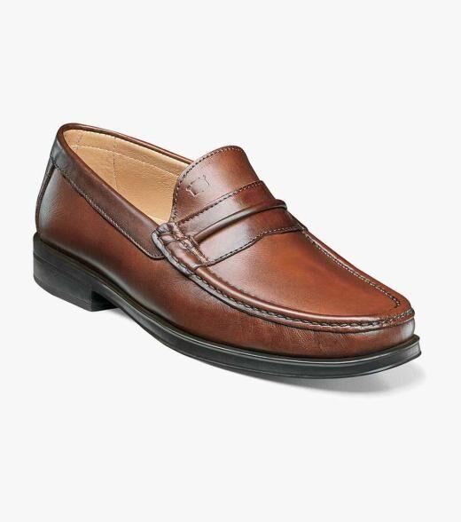 Florsheim Palace Palace Moc Toe Strap Loafer Men's Dress Shoes  - Black Indigo Tan - Size: 40, 41, 42, 43, 44, 45, 46