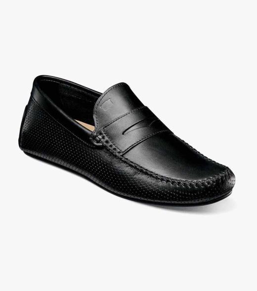Florsheim Comet Comet Moc Toe Penny Loafer Men's Dress Shoes  - Black - Size: 46