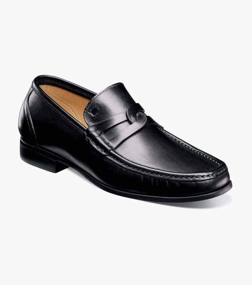 Florsheim Puente Puente Moc Toe Penny Loafer Men's Dress Shoes  - Black Cognac - Size: 40, 41, 42, 43, 44, 45, 46