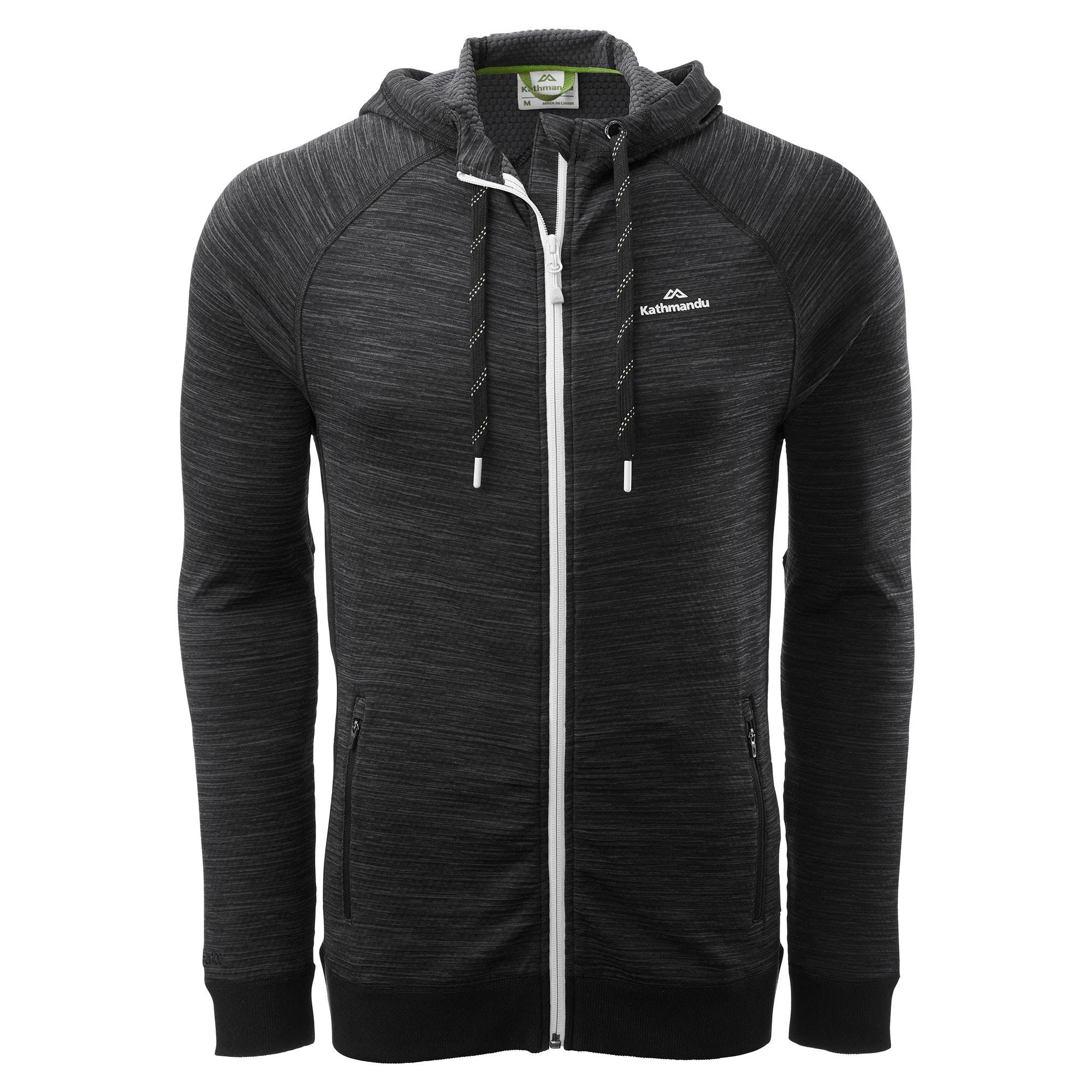 Kathmandu Acota Men's Hooded Fleece Jacket  - Granite Marle/Black - Size: 2X-Large