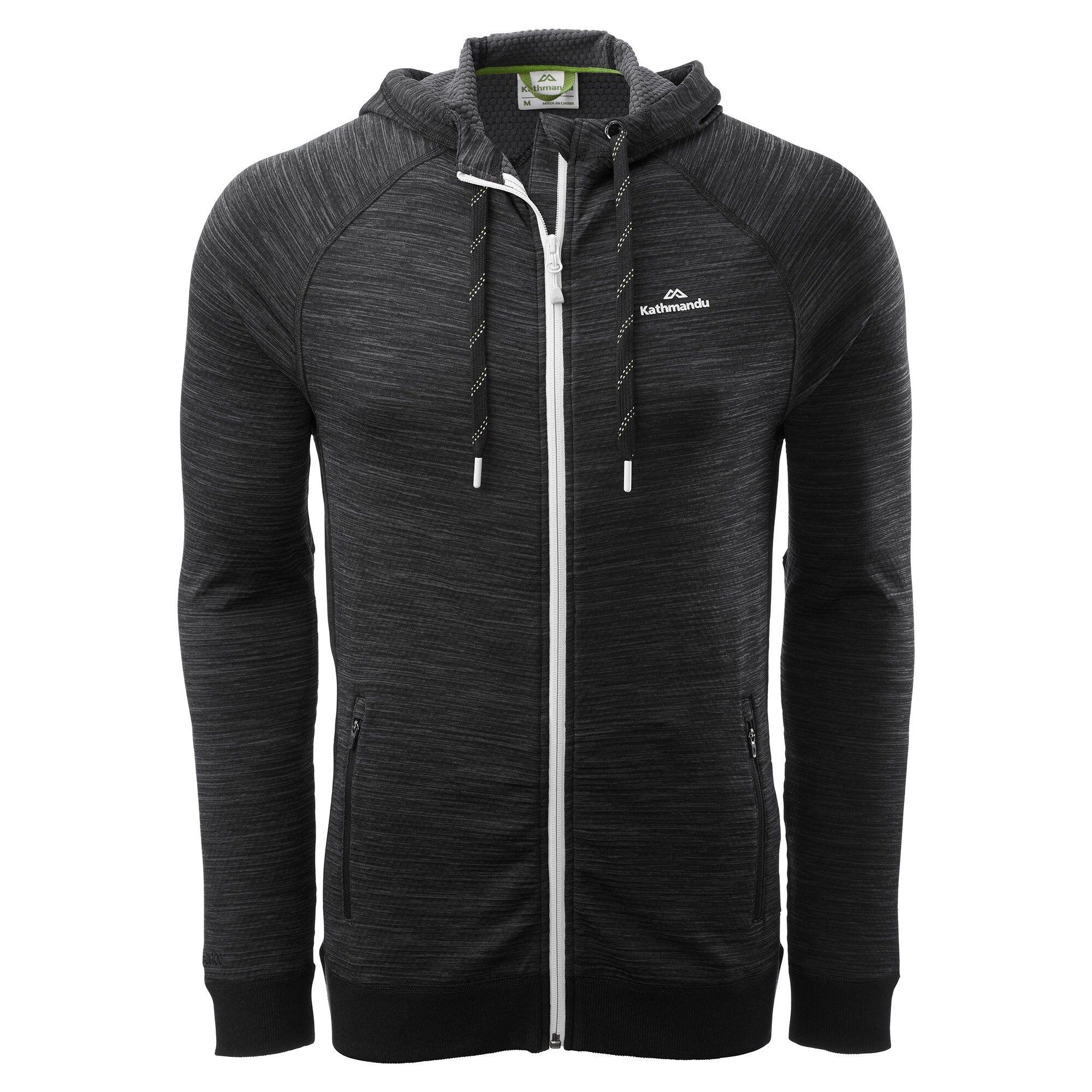 Kathmandu Acota Men's Hooded Fleece Jacket  - Granite Marle/Black - Size: Large