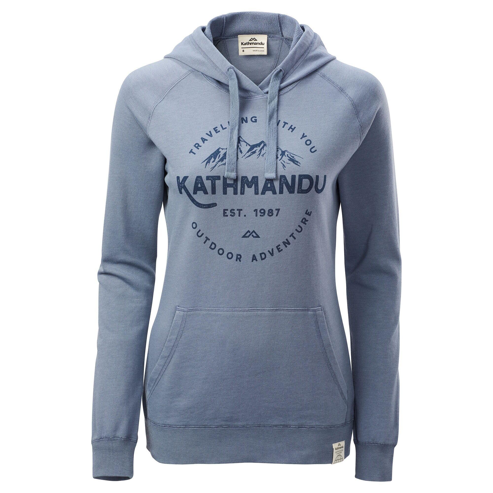 Kathmandu Earthcolours Women's Hooded Pullover  - Forever Blue/Outdoor Adventure Print - Size: US 10