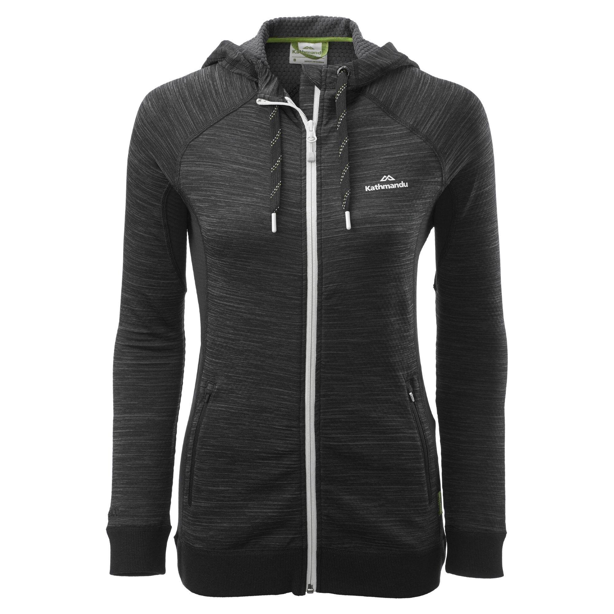 Kathmandu Acota Women's Hooded Fleece Jacket  - Granite Marle/Black - Size: US 12