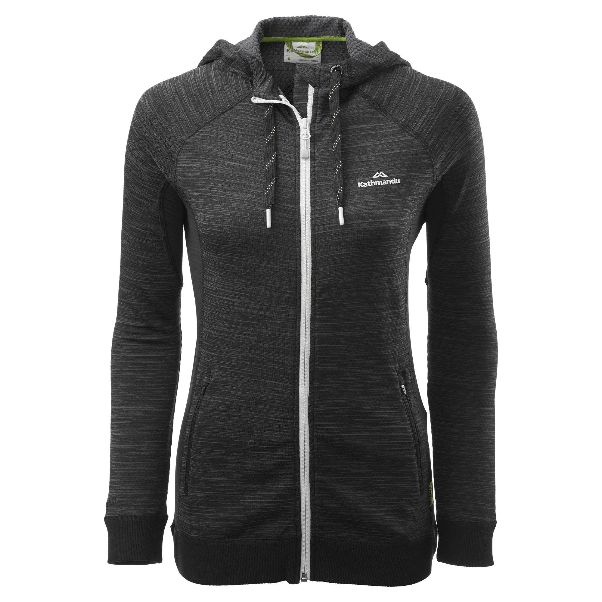 Kathmandu Acota Women's Hooded Fleece Jacket  - Granite Marle/Black - Size: US 4