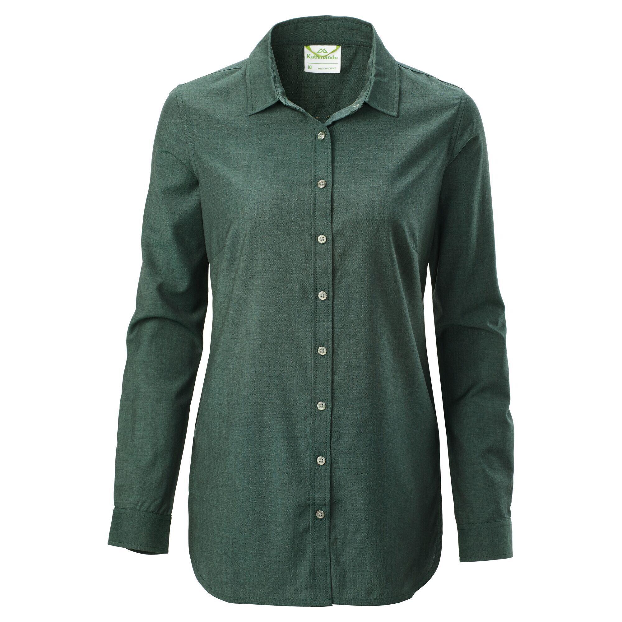 Kathmandu Tomar Women's Merino Long Sleeve Shirt  - Dark Spruce - Size: US 8