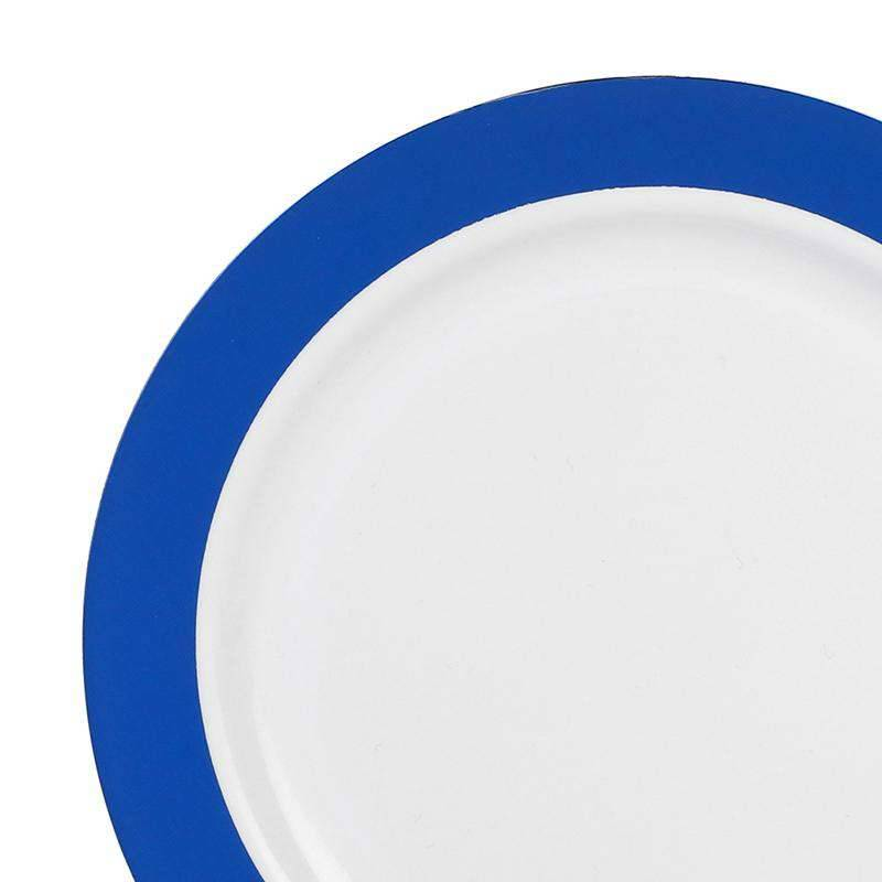 """Kaya Collection 120 plates, 7.5"""" White with Solid Blue Radian Rim Plastic Appetizer/Salad Plates"""