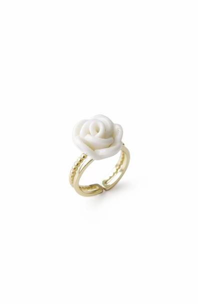 Poporcelain women's white cloud porcelain rose ring