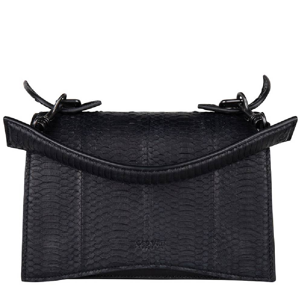 Loes Vrij Media black calf and snake leather gunmetal accessories bag