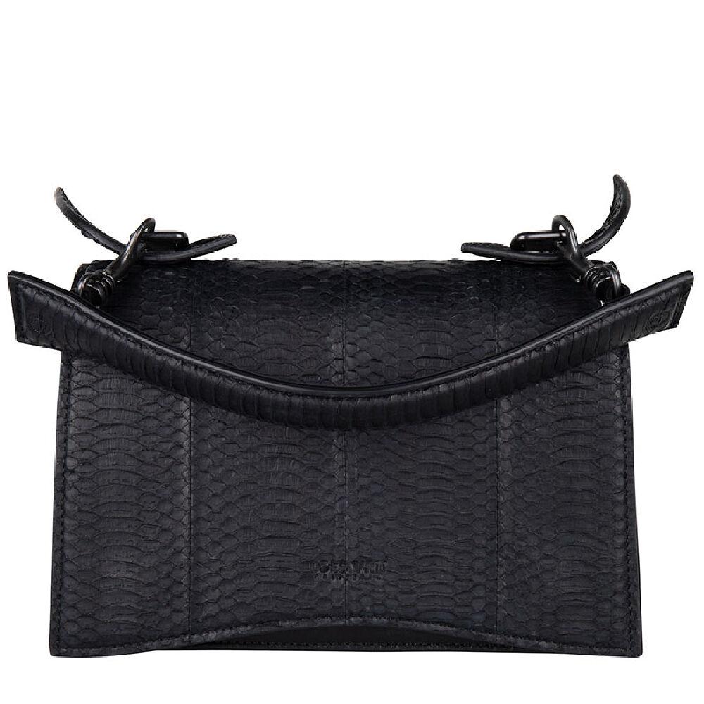 Loes Vrij Media black calf and snake leather gunmetal accessories bag