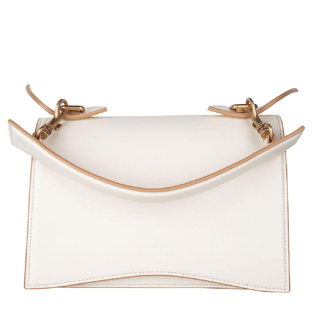 Loes Vrij Media chalk calf leather camel trims matt gold accessories bag