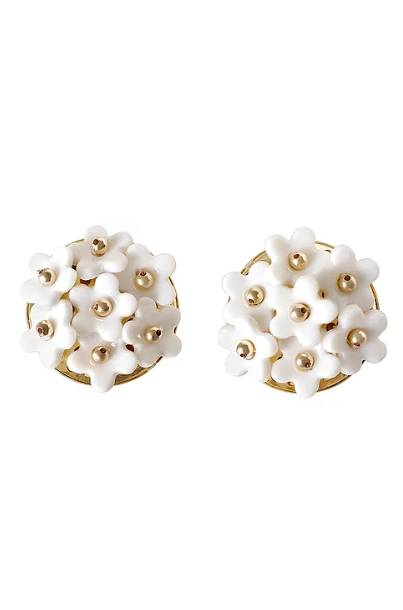 Poporcelain women's mini daisy cluster clip earrings