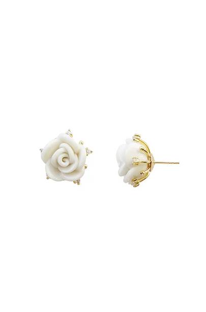 Poporcelain women's white cloud porcelain rose stud earrings