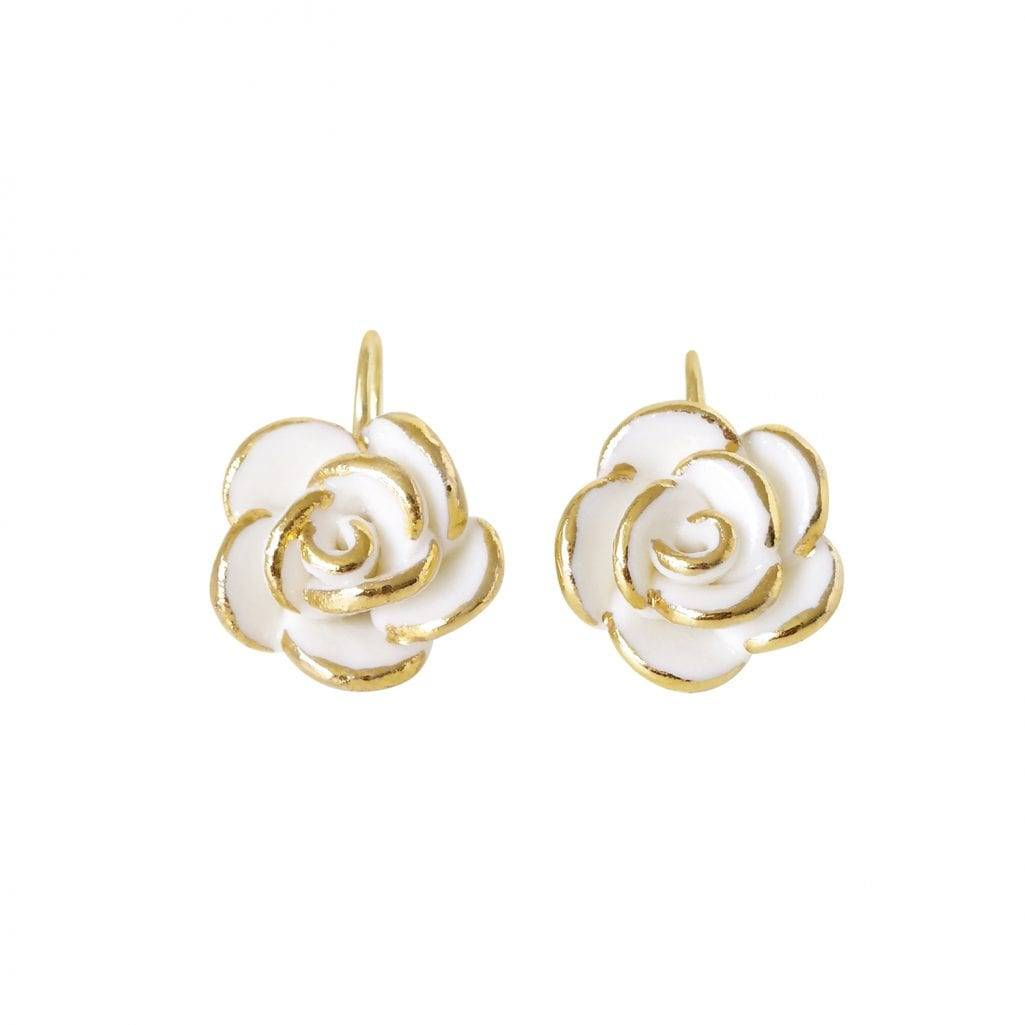 Poporcelain women's white cloud rose gold earrings