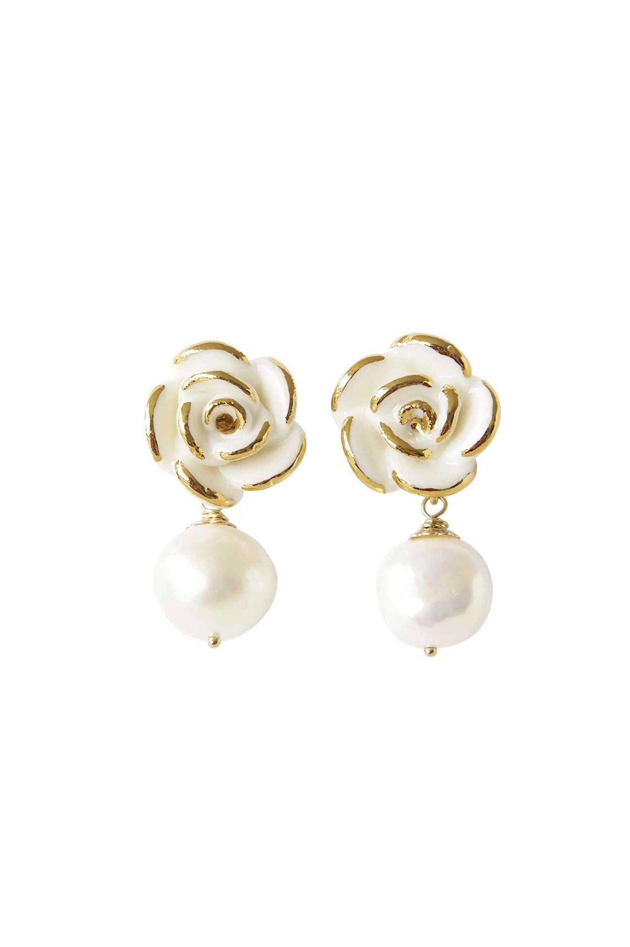 Poporcelain women's golden white cloud rose pearl drop earrings