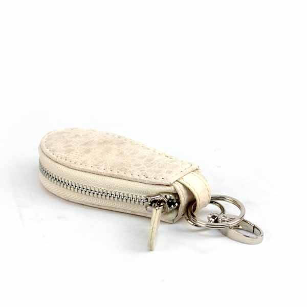 Bangkok Bootery White Leather Car Keychain