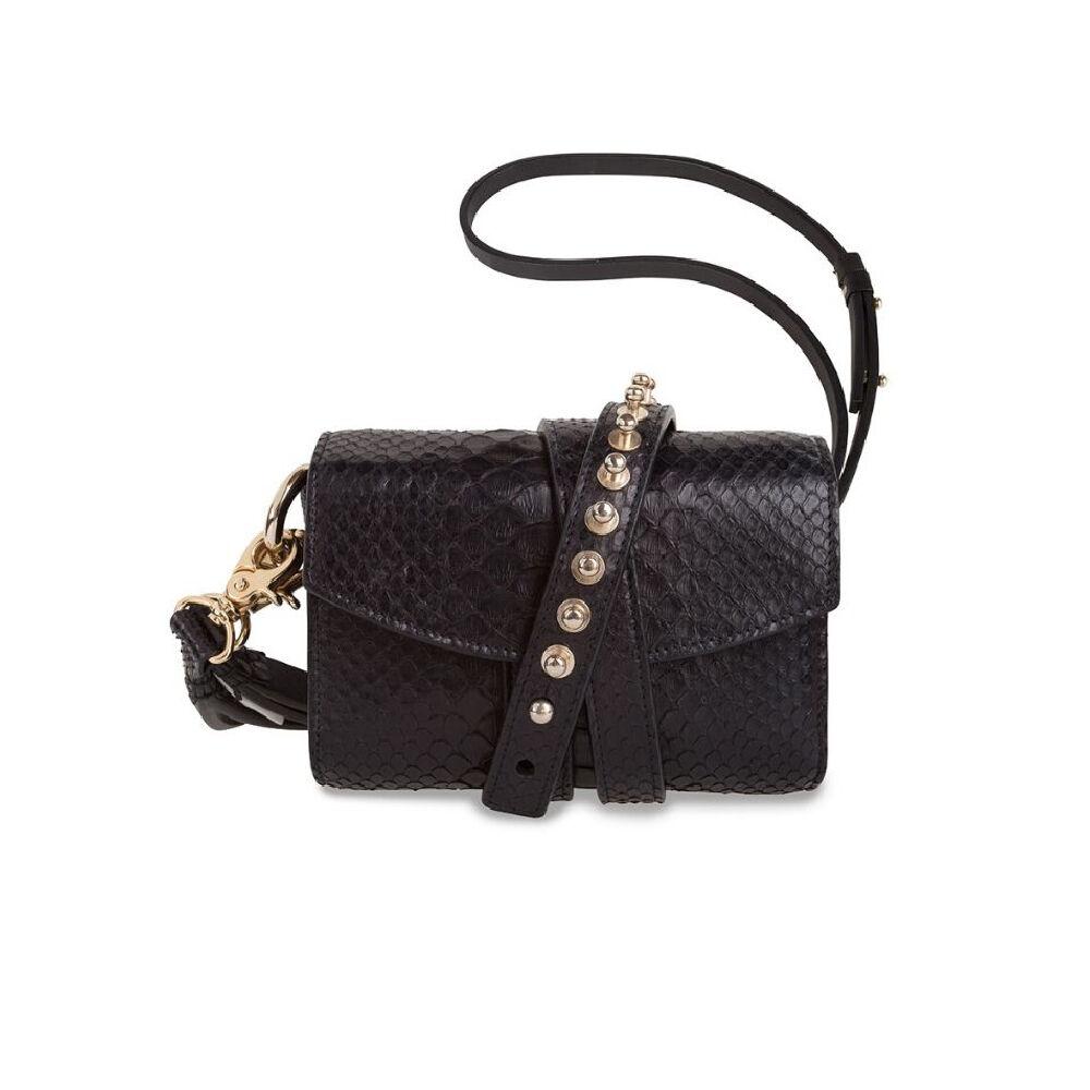 Loes Vrij Glorious Gun Python Black Gold Or Gun Metal Accessories Bag
