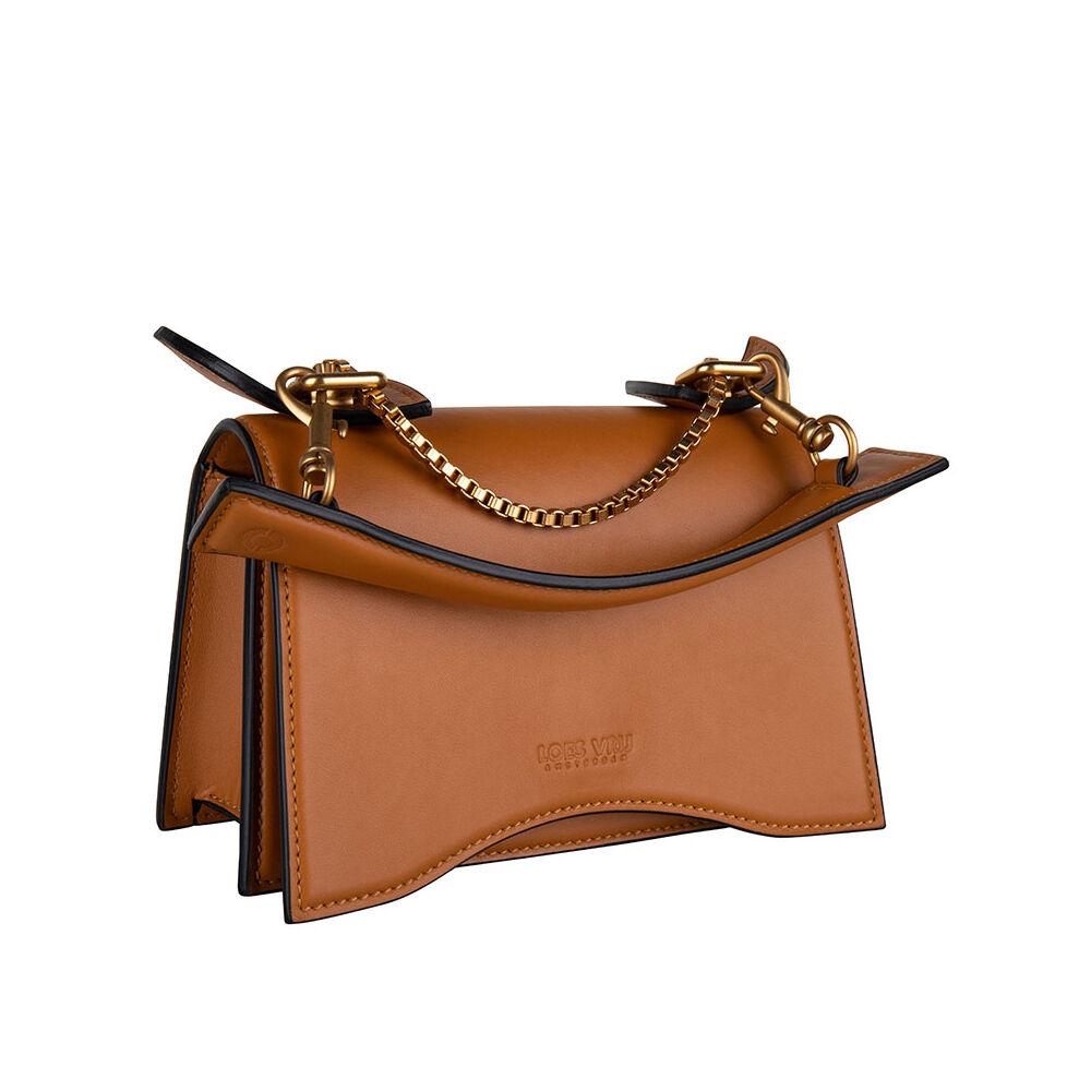 Loes Vrij Diavolino Piccolino Tan Calf Leather Matt Gold Accessories Bag
