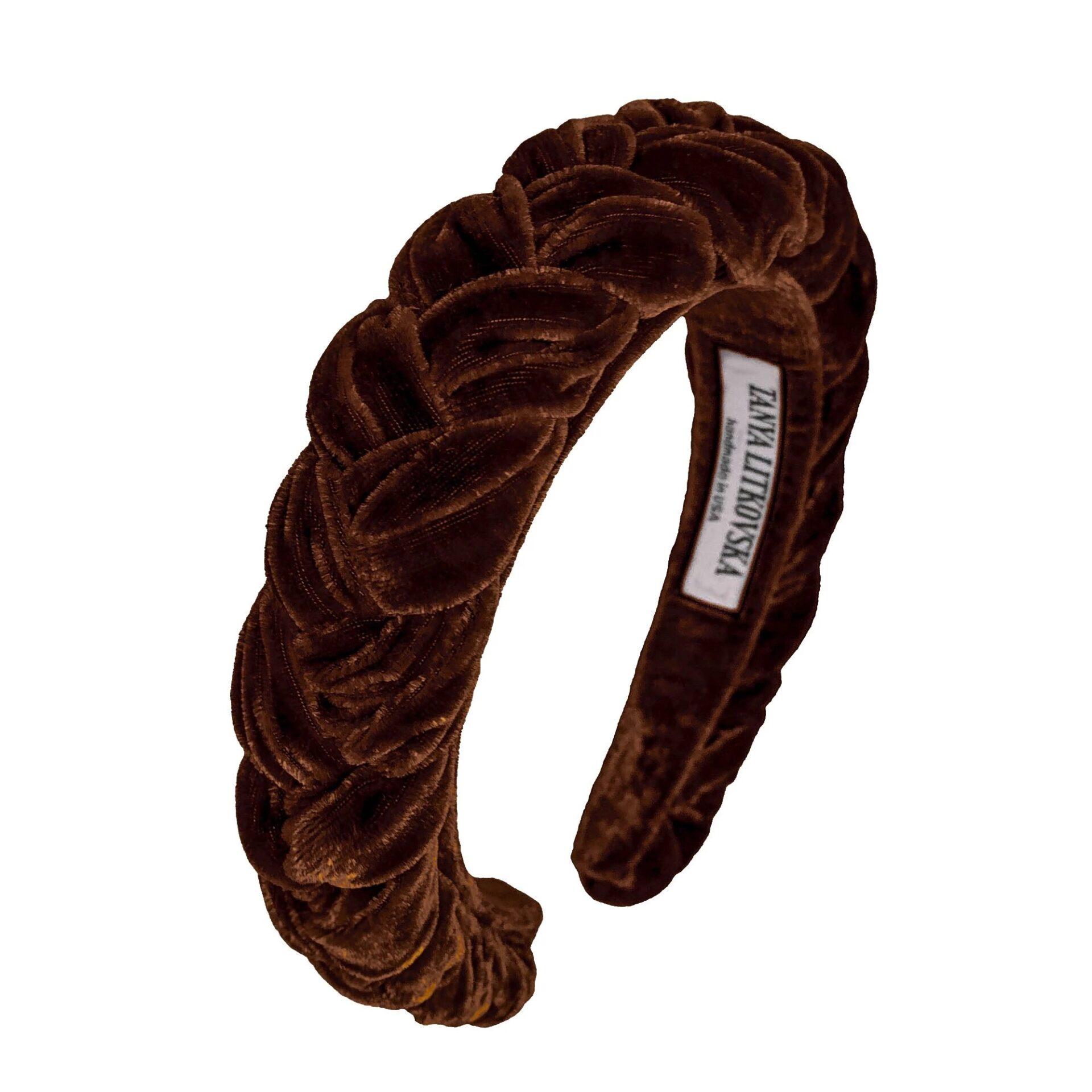 Tanya litkovska Women's Slim Velvet Headband in Chocolate