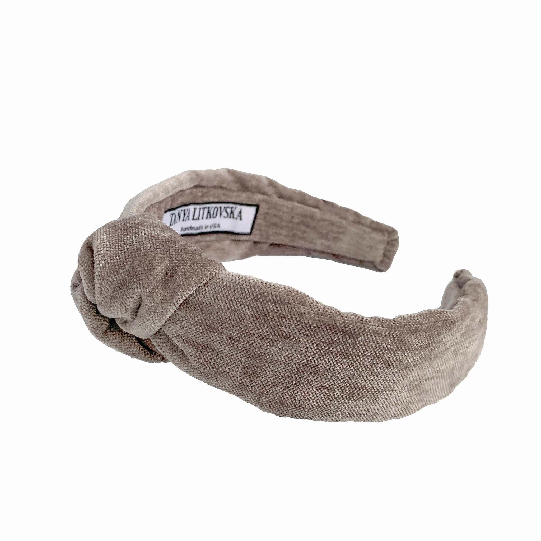 Tanya litkovska Women's Velvet Knotted Headband in Grey